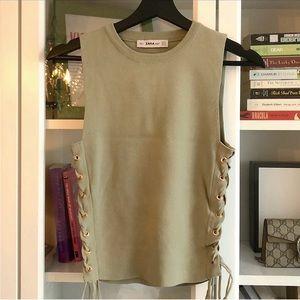 Zara Olive Knit Top